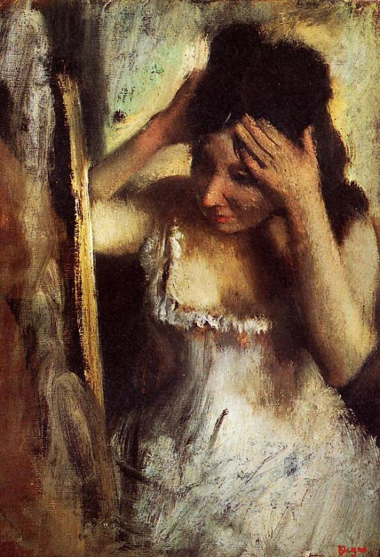 Woman Combing Her Hair before a Mirror 1877 | Edgar Degas | Oil Painting