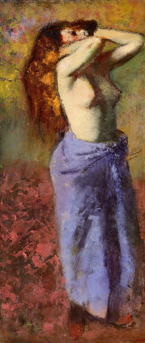Woman in a Blue Dressing Gown Torso Exposed 1887-1890 | Edgar Degas | Oil Painting
