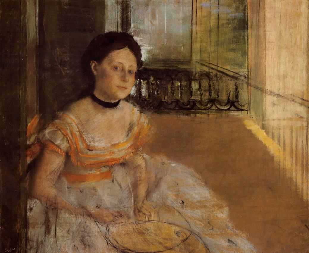 Woman Seated on a Balcony 1872 | Edgar Degas | Oil Painting