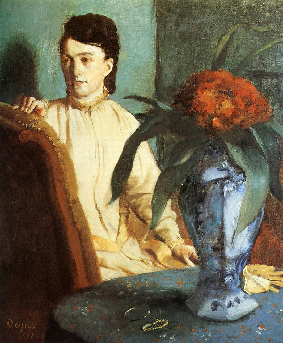 Woman with a Vase of Flowers (aka Estelle Musson De Gas) 1872 | Edgar Degas | Oil Painting