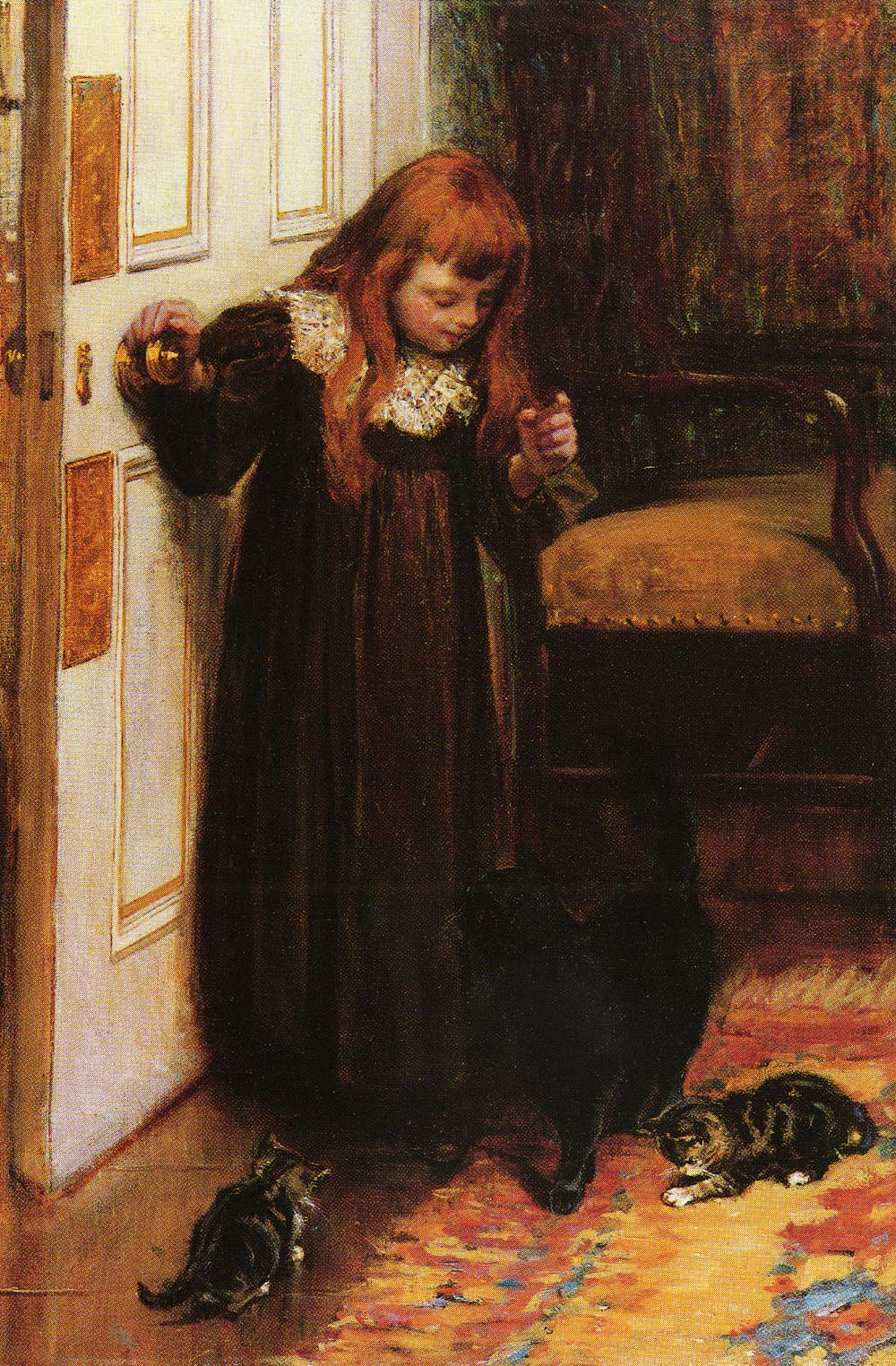 Playing With The Kittens | Edith Grey | Oil Painting