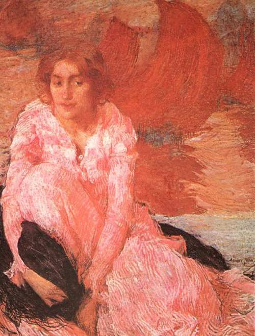 Girl In A Pink Dress 1900-1902 | Edmond Aman-Jean | Oil Painting