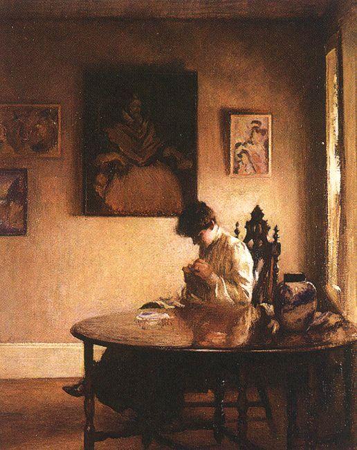 Girl Crocheting | Edmund C Tarbell | Oil Painting