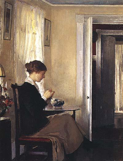 Josephine Knitting | Edmund C Tarbell | Oil Painting