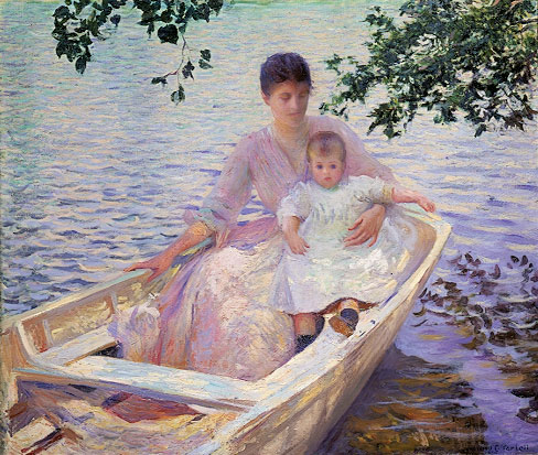 Mother and Child in a Boat | Edmund C Tarbell | Oil Painting