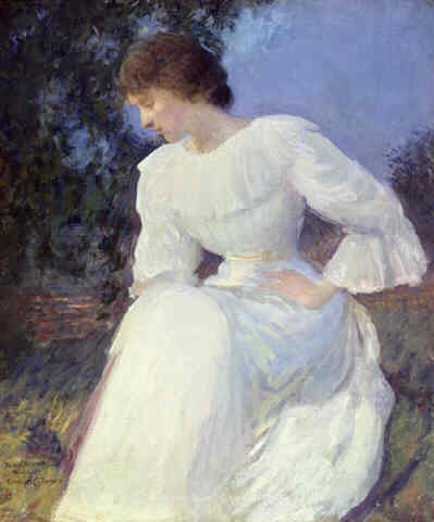 Portrait of a Woman in White | Edmund C Tarbell | Oil Painting