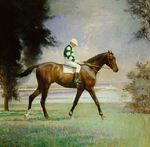 Thoroughbred with Jockey Up | Edmund C Tarbell | Oil Painting
