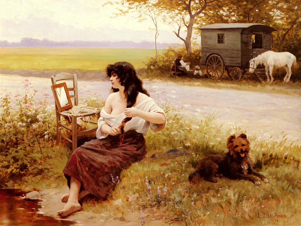 La Gitane A La Toilette | Edouard Bernard Debat-Ponson | Oil Painting