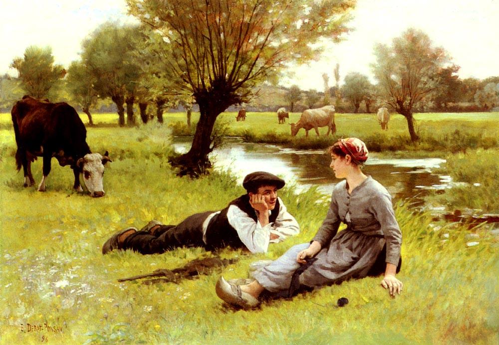 Le Flirt | Edouard Bernard Debat-Ponson | Oil Painting
