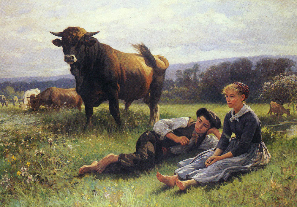 Herdsmens Repose | Edouard Bernard Debat-Ponson | Oil Painting