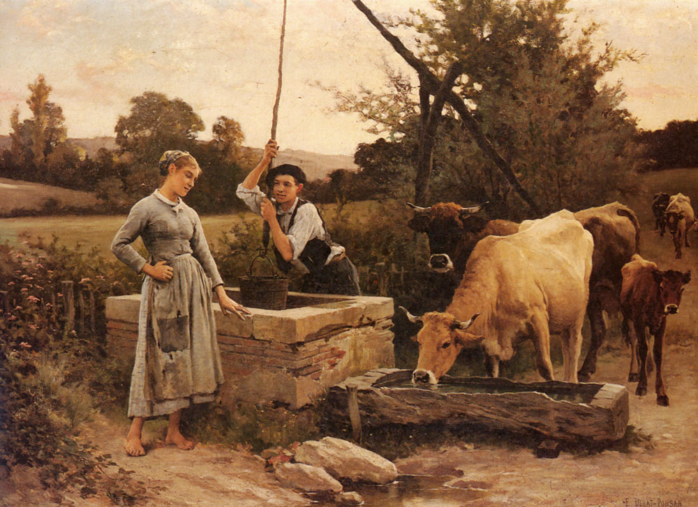 At The Well | Edouard Bernard Debat-Ponson | Oil Painting