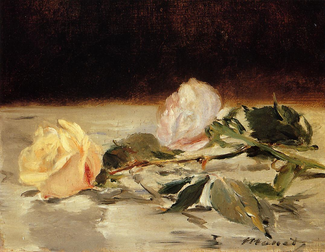 Two Roses on a Tablecloth 1882 1883 | Edouard Manet | Oil Painting
