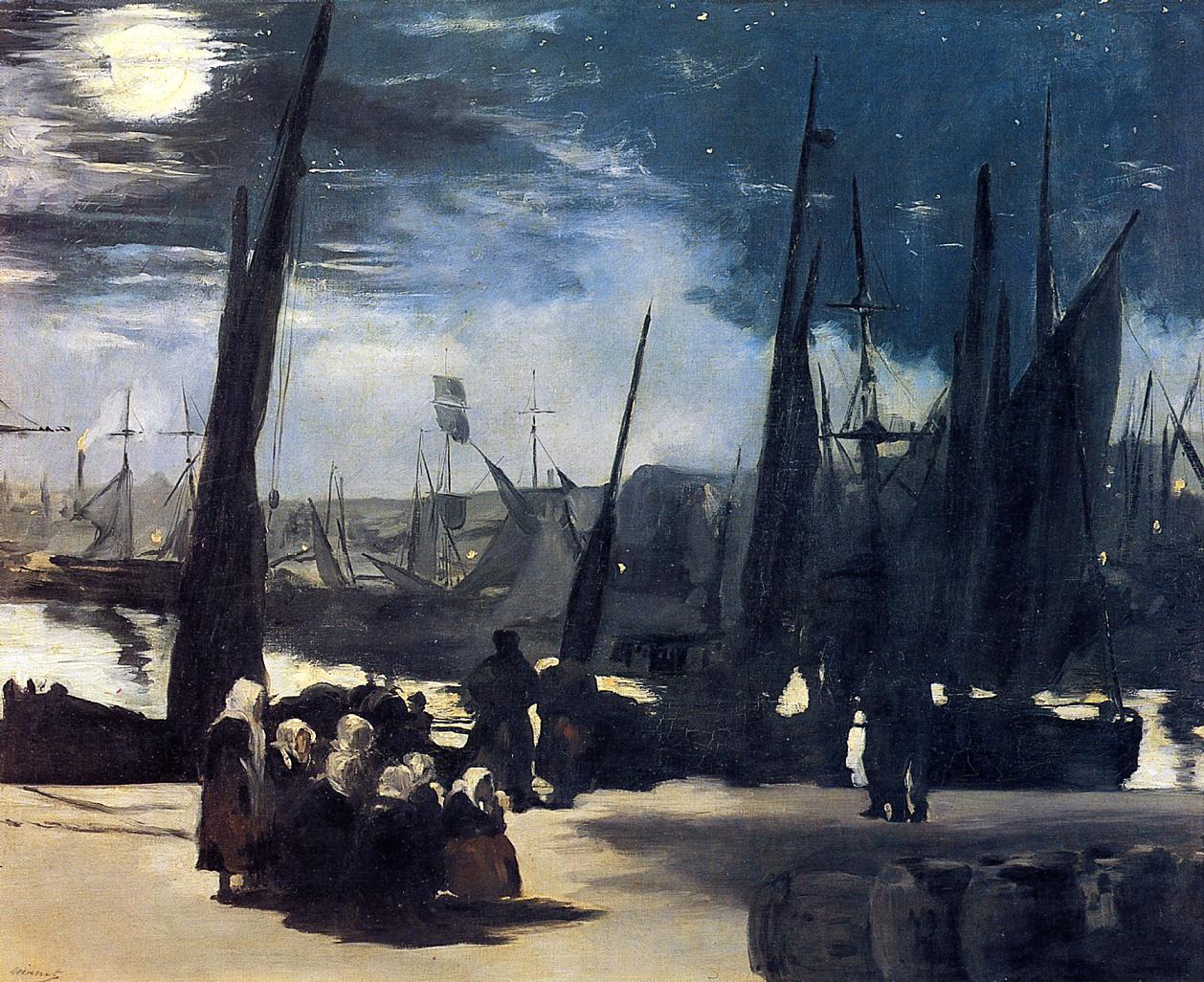 Moonlight over Bologne Harbor 1869 | Edouard Manet | Oil Painting