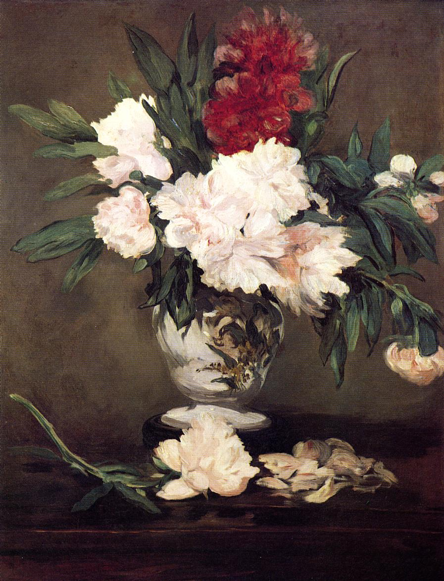 Peonies in a Vase on a Stand 1864 | Edouard Manet | Oil Painting