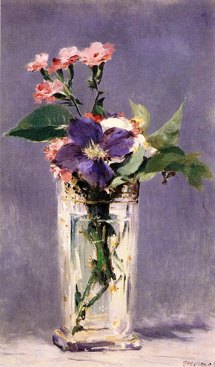 Pinks and Clematis in a Crystal Vase 1882 | Edouard Manet | Oil Painting