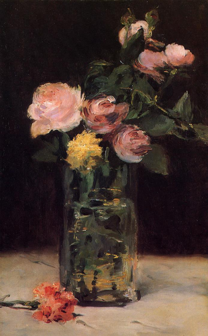 Roses in a Glass Vase 1883 | Edouard Manet | Oil Painting