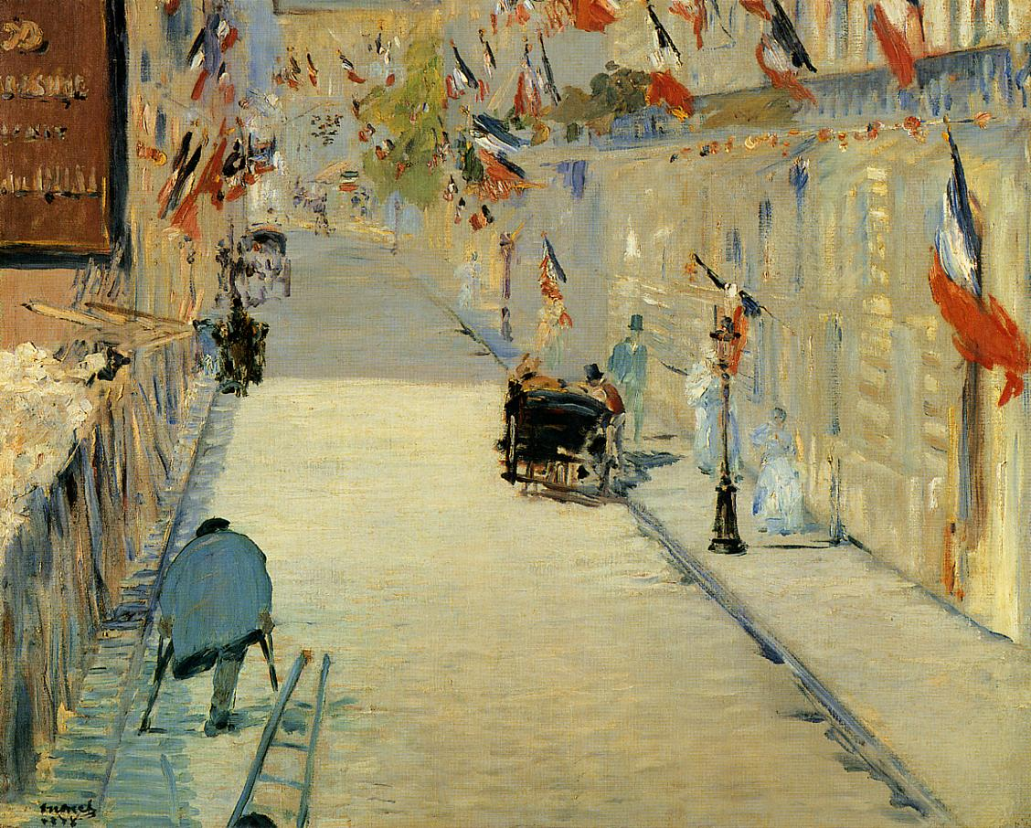 Rue Mosnier Decorated with Flags with a Man on Crutches 1878 | Edouard Manet | Oil Painting