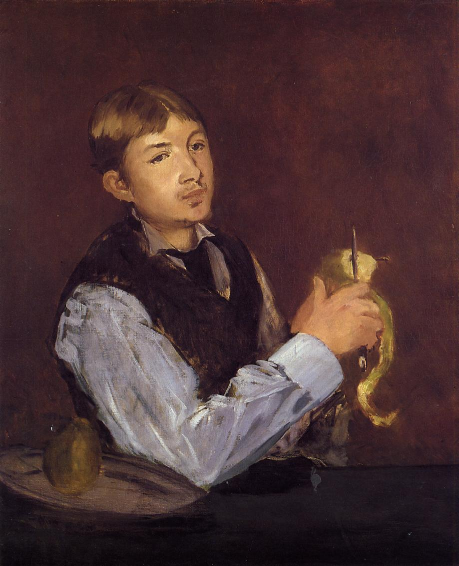 Young Man Peeling a Pear (aka Portrait of Leon Leenhoff) 1869 | Edouard Manet | Oil Painting