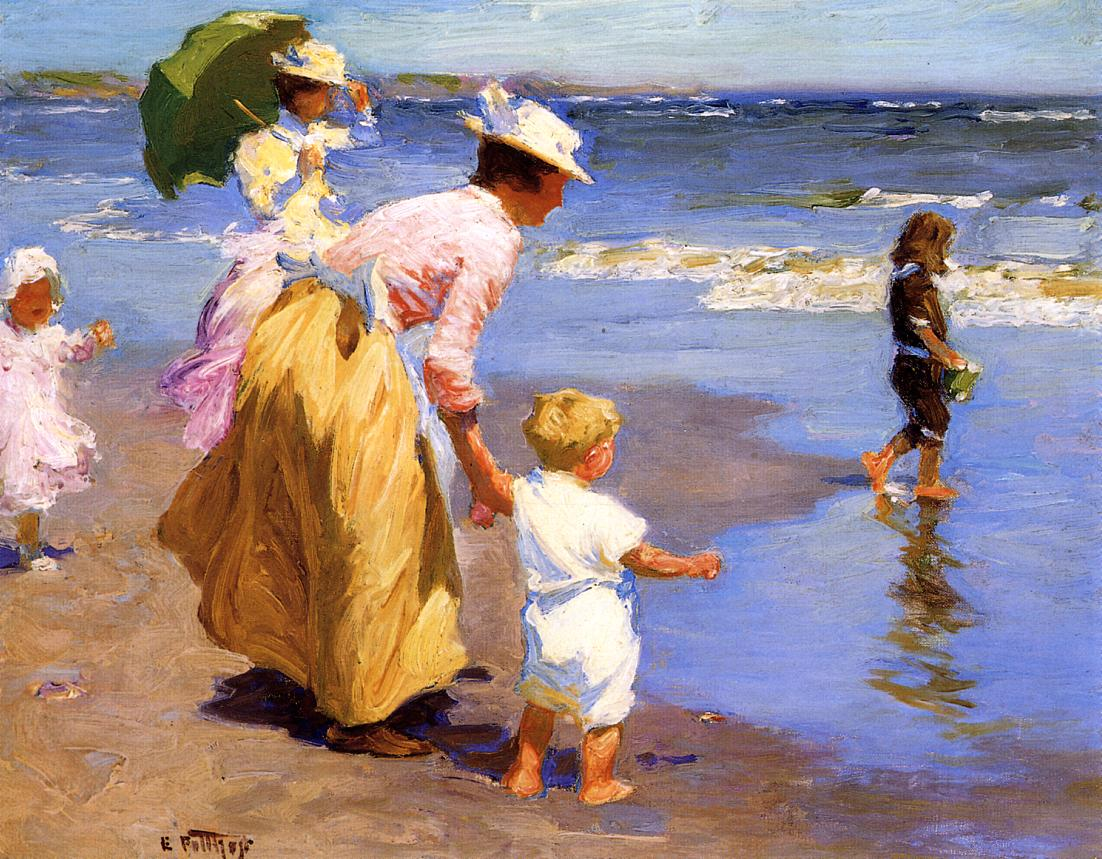 At The Beach Painting Edward Potthast Oil Paintings