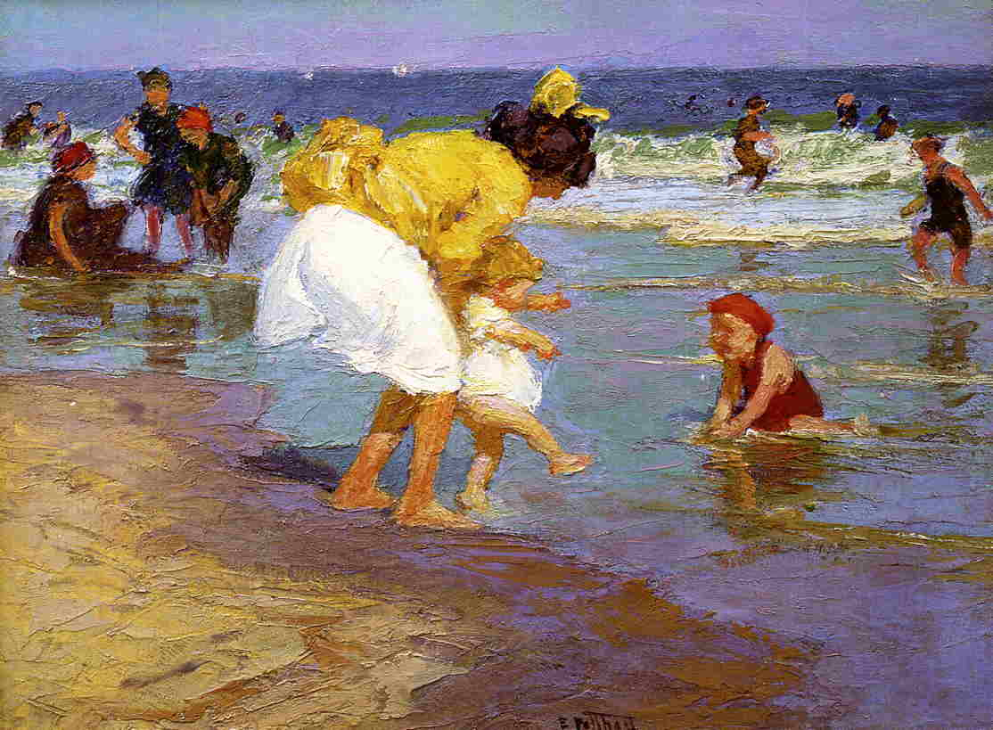 At the Seaside 1915 | Edward Potthast | Oil Painting