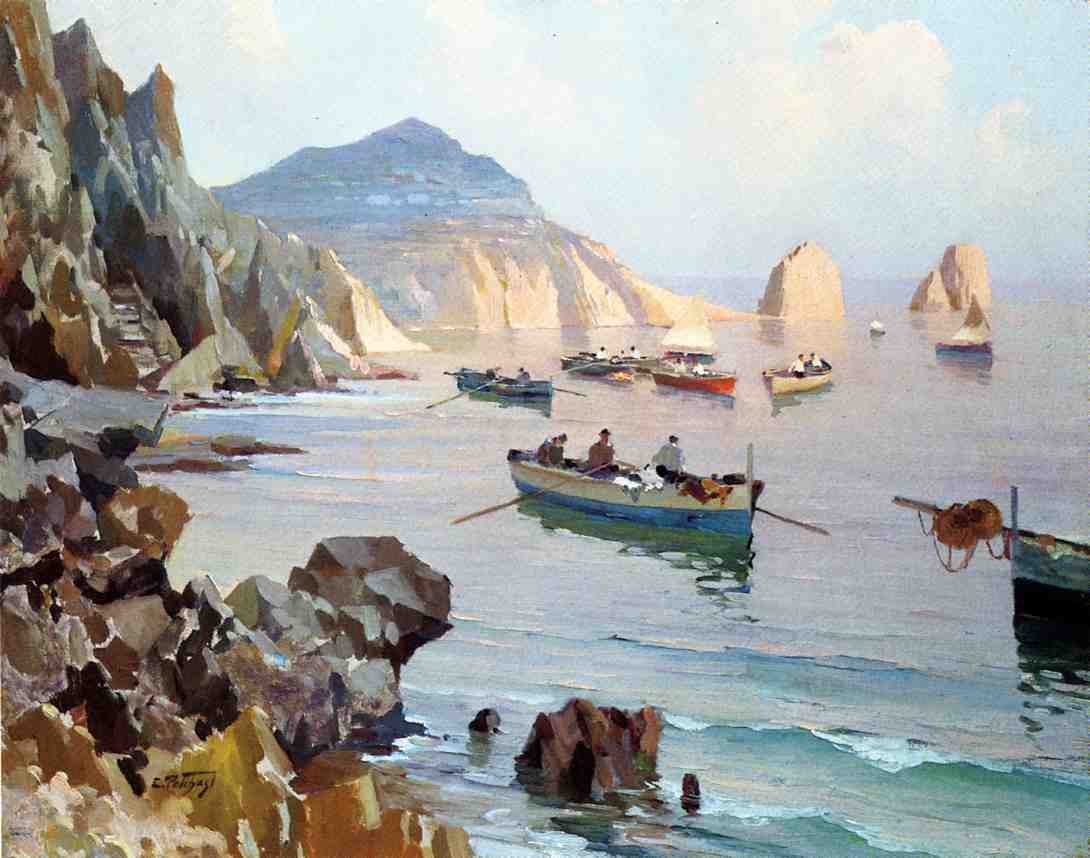 Boats in a Rocky Cove | Edward Potthast | Oil Painting