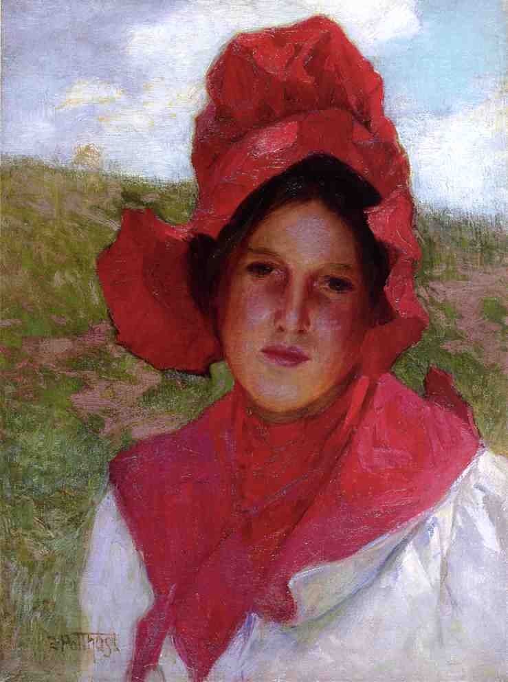 Girl in a Red Bonnet | Edward Potthast | Oil Painting