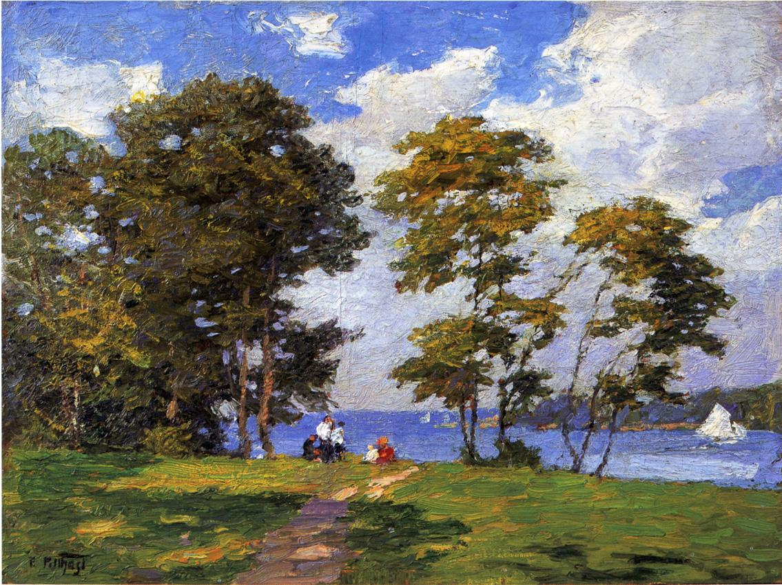 Landscape by the Shore (aka The Picnic) | Edward Potthast | Oil Painting