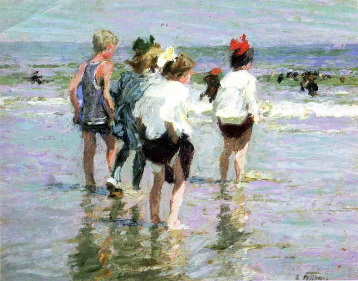 Summer Day Brighton Beach | Edward Potthast | Oil Painting