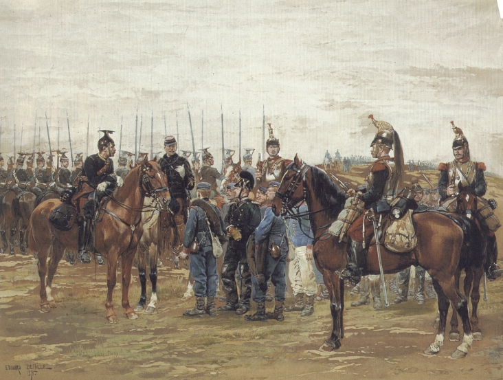 A French Cavalry Officer Guarding Captured Bavarian Soldiers | Eduard Detaille | Oil Painting