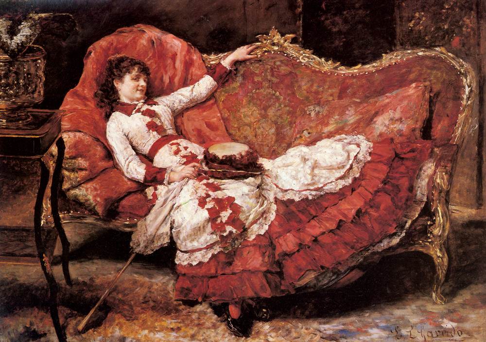An Elegant Lady In A Red Dress   Eduardo Leon Garrido   Oil Painting