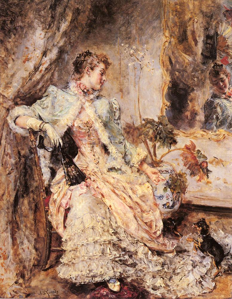 An Elegant Lady With Her Dog | Eduardo Leon Garrido | Oil Painting