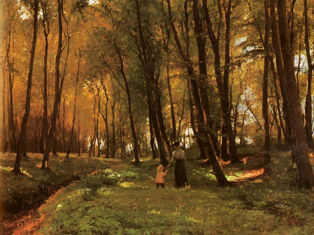 A Walk in the Woods | Edvard Frederik Petersen | Oil Painting