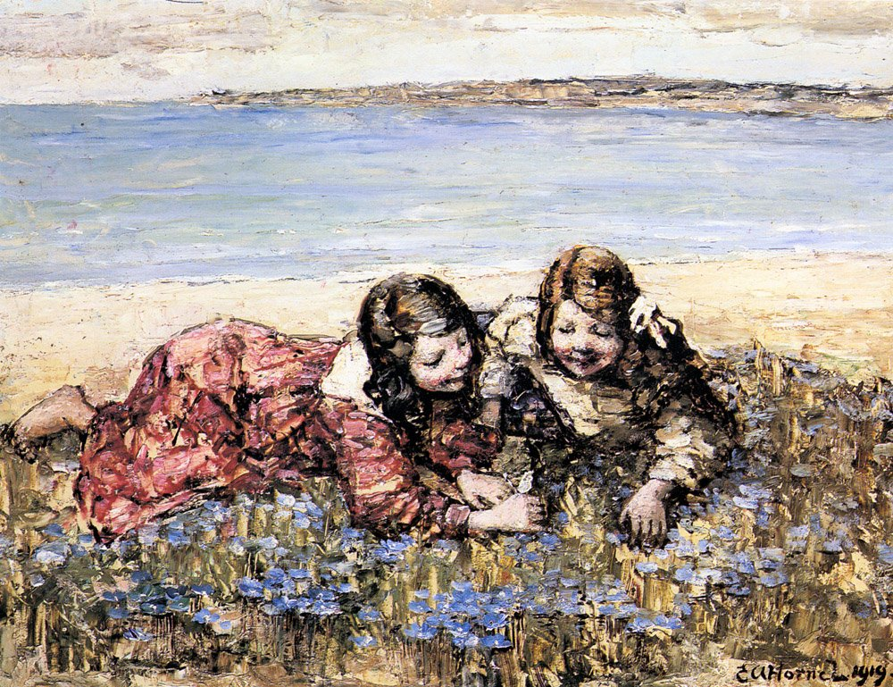 Atkinson Gathering Flowers By The Seashore | Edward Hornel | Oil Painting