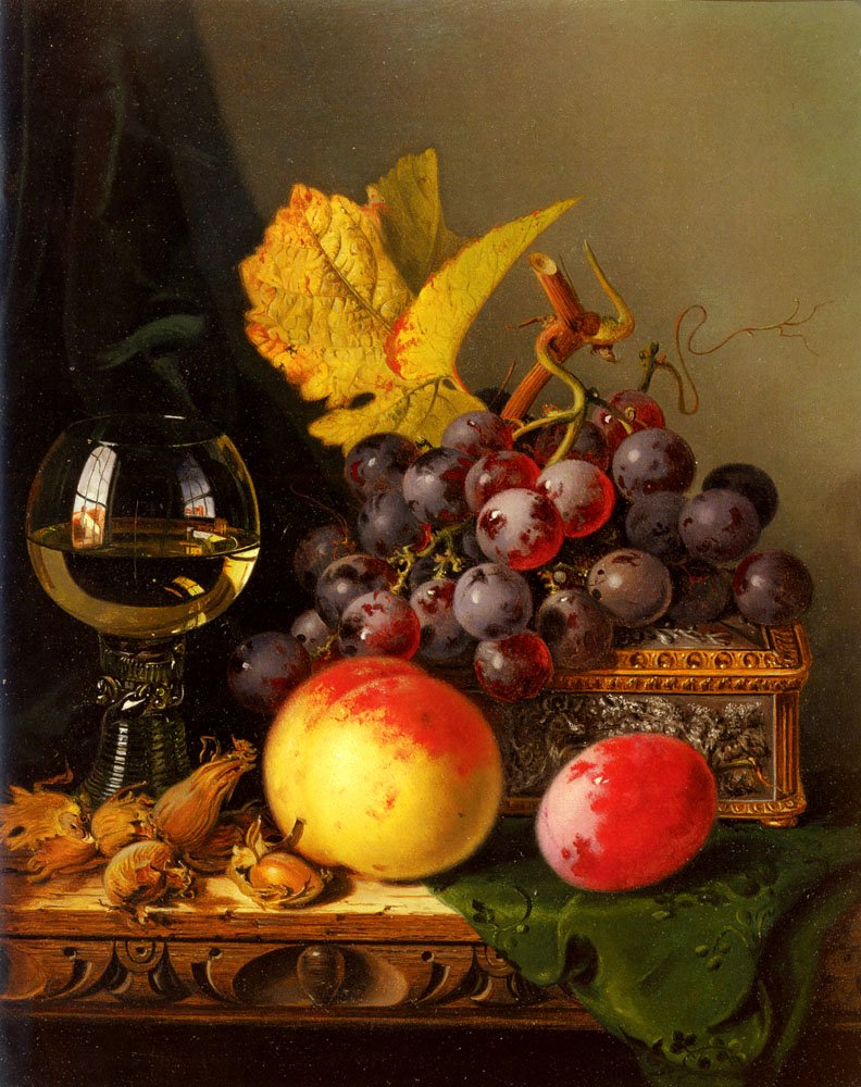 A Still Life Of Black Grapes | Edward Ladell | Oil Painting