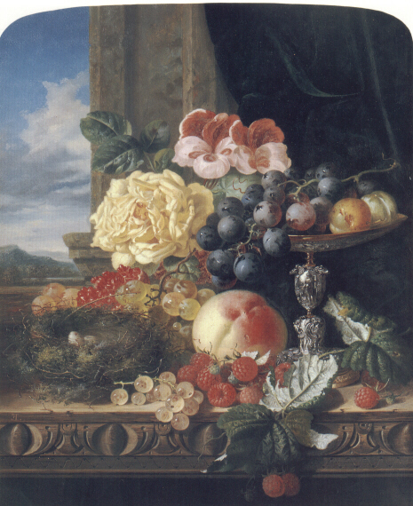 Still Life with Fruit Flowers and a Birds Nest   Edward Ladell   Oil Painting