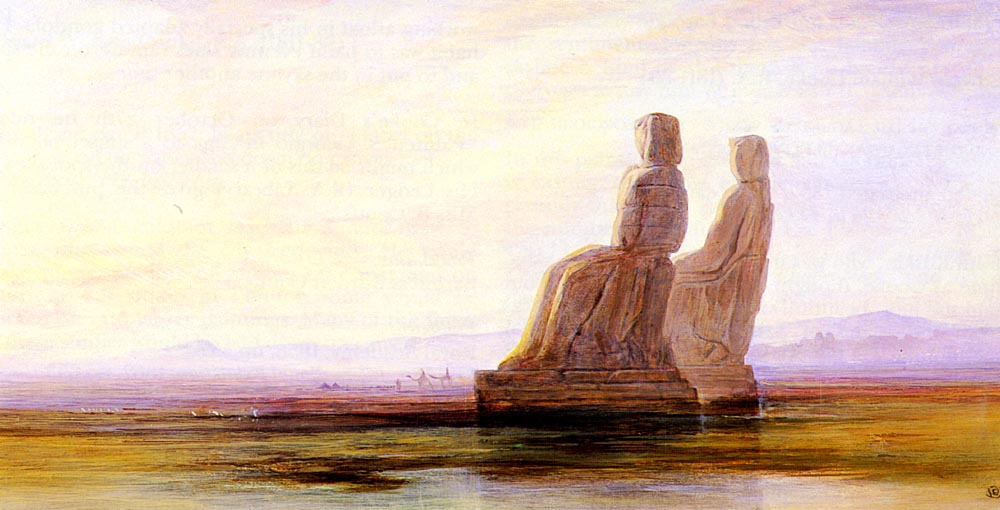 The Plain Of Thebes With Two Colossi | Edward Lear | Oil Painting
