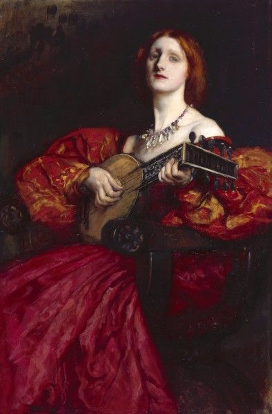 A Lute Player | Edwin Austin Abbey | Oil Painting