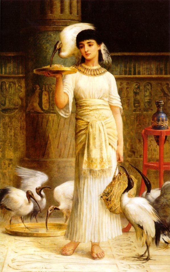 Alethe Attendant Of The Sacred Ibis In The Temple Of Isis At Memphis AD225 1888 | Edwin Longsden Long | Oil Painting