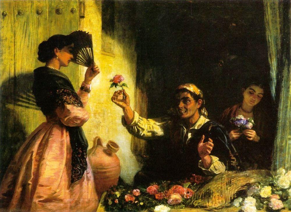 A Spanish Flower Seller | Edwin Longsden Long | Oil Painting