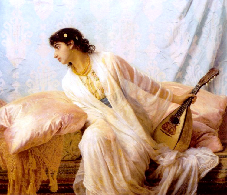 To Her Listening Ear Responsive Chords Of Music Came Familia | Edwin Longsden Long | Oil Painting