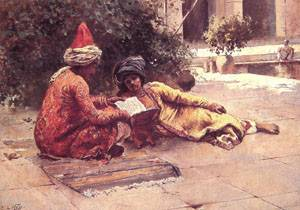 Two Arabs Reading in a Courtyard | Edwin Lord Weeks | Oil Painting