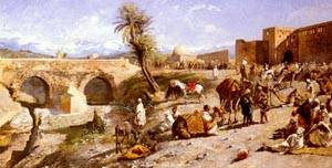 The Arrival Of A Caravan Outside Marakesh | Edwin Lord Weeks | Oil Painting