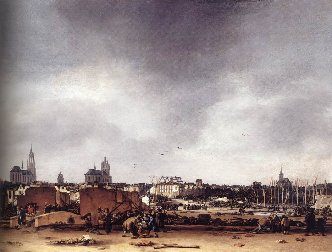 View Of Delft After The Explosion Of 1654-1654 | Egbert Van Der Poel | Oil Painting