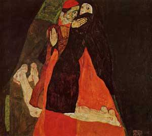 Cardinal and Nun (aka Caress) 1912 | Egon Schiele | Oil Painting