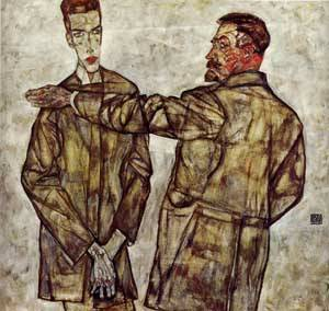 Double Portrait (aka Chief Inspector Heinrich Benesch and His Son Otto) 1913 | Egon Schiele | Oil Painting