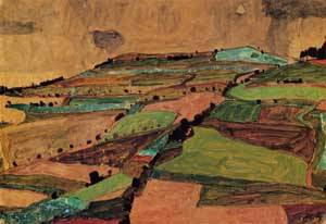 Field Landscape (aka Kreuzberg near Krumau) 1910 | Egon Schiele | Oil Painting