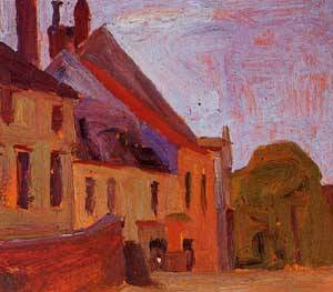 Houses on the Town Square in Klosterneuberg 1908 | Egon Schiele | Oil Painting