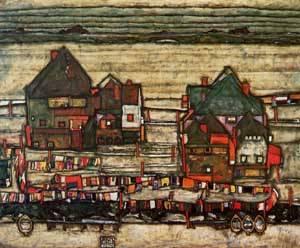 Houses with Laundry (aka Seeburg II) 1914 | Egon Schiele | Oil Painting