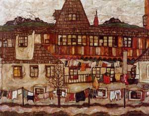 House with Drying Laundry 1917 | Egon Schiele | Oil Painting