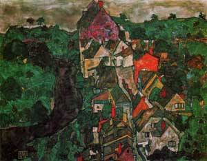 Krumau Landscape (aka Town and River) 1915-1916 | Egon Schiele | Oil Painting